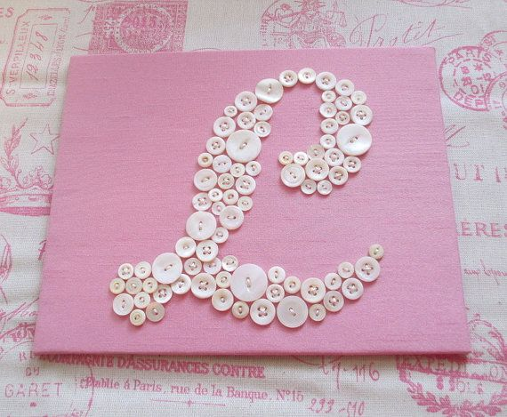 Nursery Wall Art Button Letter L by letterperfectdesigns on Etsy