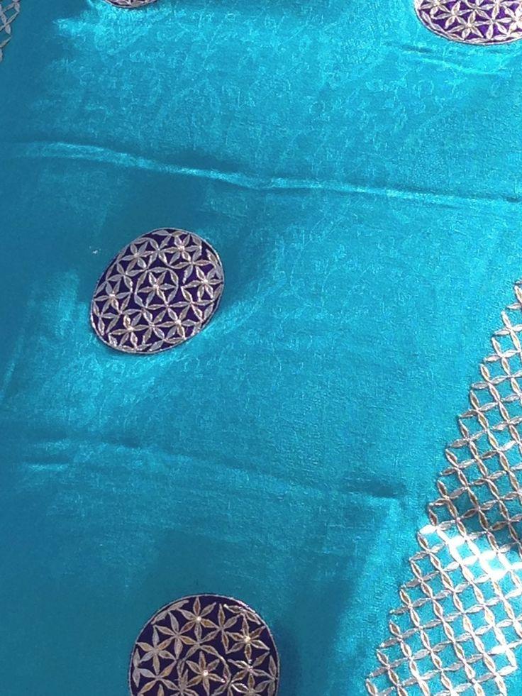 Firozi gota patti shawl to order call or write