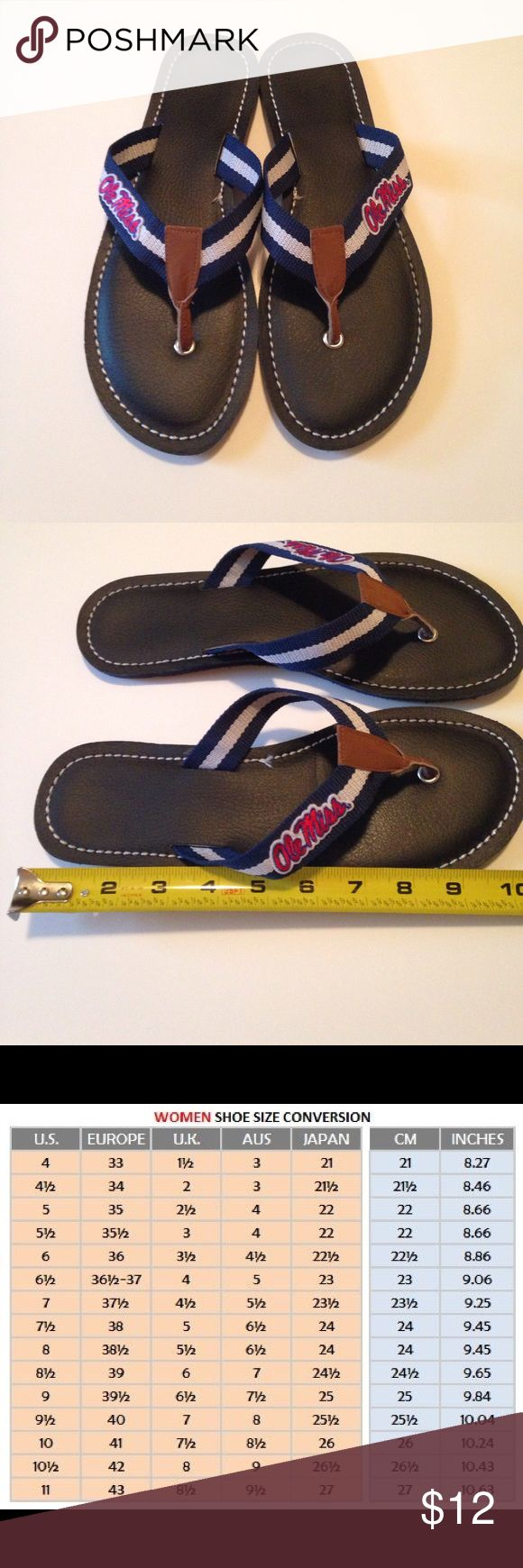 Women's Flip Flops Ole Miss Precious Flip Flops for the Ole Miss Fan...see size chart image...measuring size 10...GUC Shoes Sandals