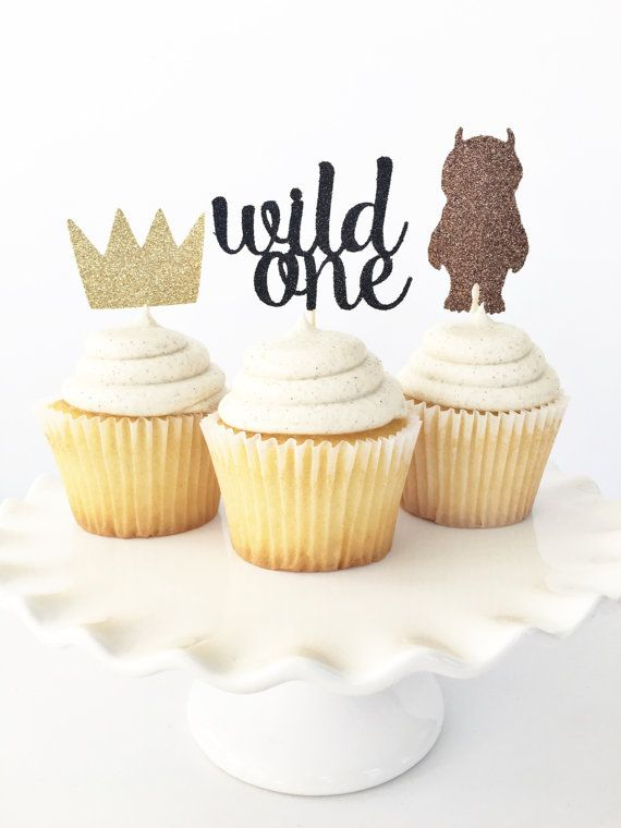 Where The Wild Things Are Birthday Party Theme Cupcake Toppers / Wild One / Crown Cupcake Toppers / Boy First Birthday Decor