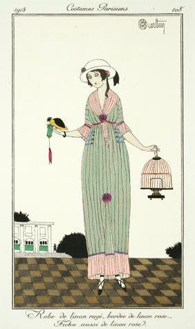 Charles Martin (French, 1884-1934). Plate 108. Robe de linon rayé bordée de linon rose - Fichu aussi de linon rose 1913: Dame Des, Linon Rose, Rose Stripes, Rose 1913, Of Fashion
