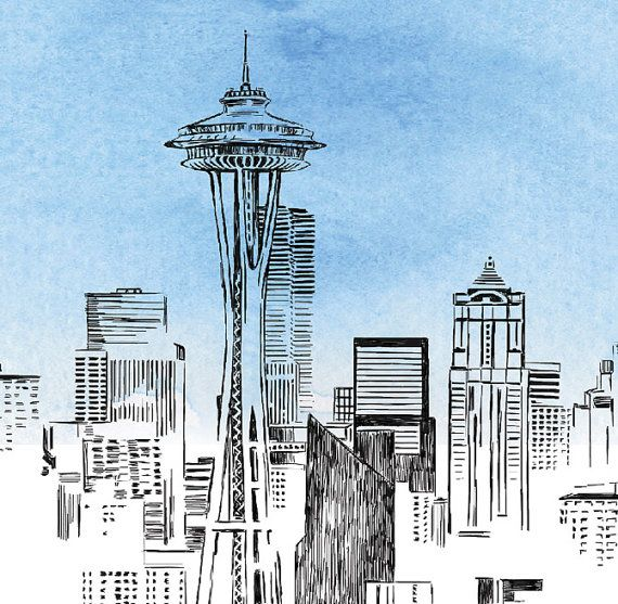 Seattle Skyline Pen and Ink Watercolor Print by MagicWandWeddings