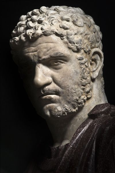 Emperor Caracalla - detail, Roman bust (marble), 3rd century AD, (Palazzo Nuovo, Rome).