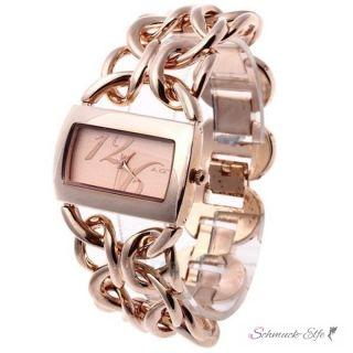 Damen Edelstahl Armbanduhr  Rosegold New York