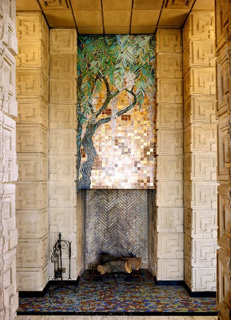 Ennis House, 1924. Frank Lloyd Wright, architect. The mosaic is meant to be the only left in any house Wright designed.