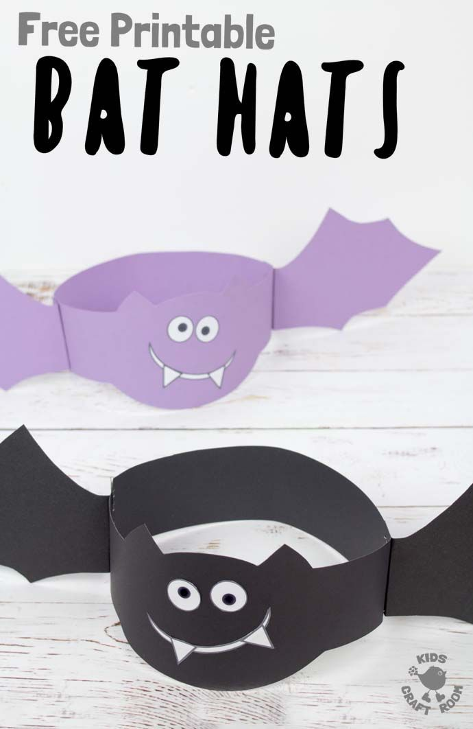 photograph relating to Free Printable Halloween Crafts called Printable Bat Hats Crafts for Children Halloween crafts for