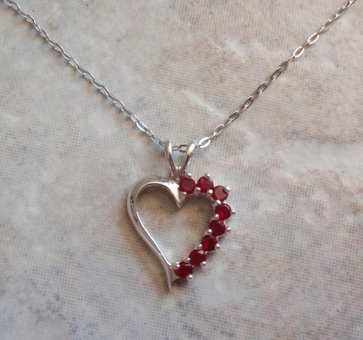 Ruby Heart Necklace Sterling Silver 17 Inch Cable Chain Vintage V0721