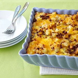 Sausage-Hash Brown Breakfast Casserole Recipen – substituted sausage for canadian bacon, and added sauteed onions
