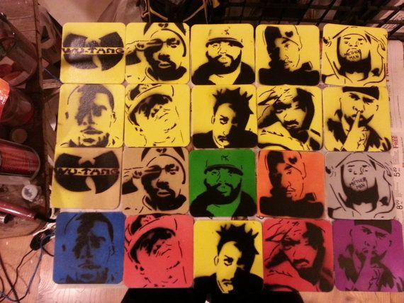 Wu Tang Members Coaster Set by PaintingsThatPop on Etsy, $14.00