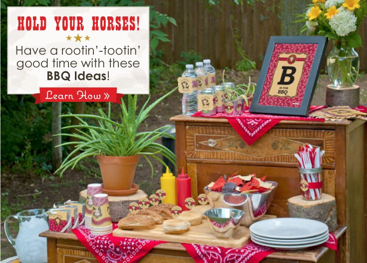 Bbq party event summer bbq ideas little cowboy party for Baby shower bbq decoration ideas