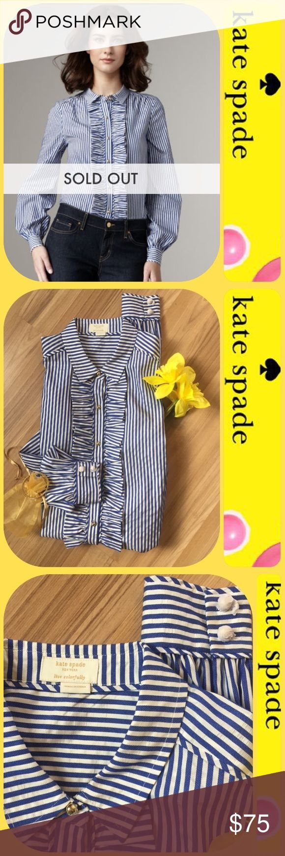 "🆕 ♠️ kate spade Tiff Blouse ♠️ Sz4 ♠️ Totally stunning classic that is NEW. Seersucker cotton silk blend. See photos/ ask questions if needed. Thank you!  Chest: 17.25 "" flat, 25 "" long, Shoulder width 14"" flat. Great casually with jeans or a skirt! kate spade Tops Blouses"