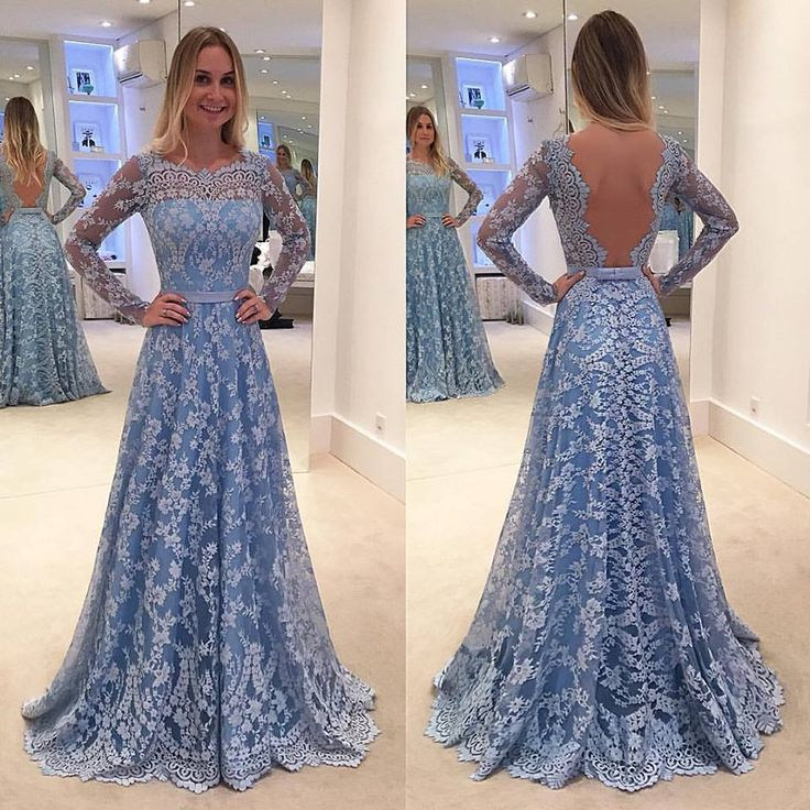 Lace Backless Long-Sleeve Sweep-Train A-line Delicate Long Prom Dress - Thumbnail 5