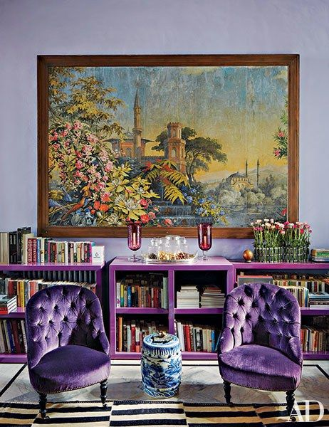interior designer may daouk cooled her beirut living room with amethyst tones lavishing them on: