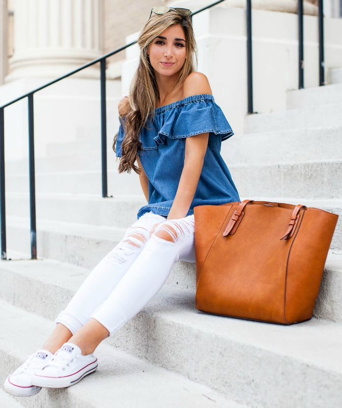 Jessi Afshin + super cute summer look + distressed white jeans + off the shoulder denim top + fresh white classic converse + achievable casual look!  Outfit: Nordstrom.