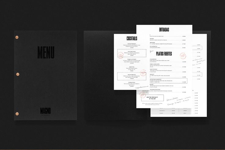 We Love Menus. Magno Brasserie. Design by www.anagrama.com