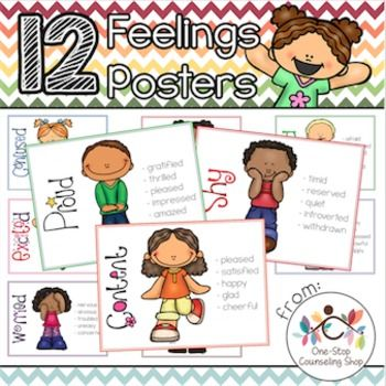 This set of #posters is great for helping students who struggle with #feelings identification learn to express themselves. It contains 12 different posters in both colored and black & white versions. Posters each contain the emotion word, a clipart picture, and several synonyms to help students build their feelings vocabulary. Black and white posters can also be used as #coloring pages for students!