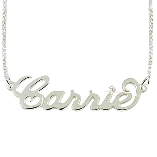 This beautiful sterling silver Hollywood script name necklace would make a perfect gift for your Mother, your sister, your friend or yourself! It also comes with a shimmering Sterling Silver box chain and a star set with a fine diamond! Special offer 50% OFF! from 110 to 54 and now $29 http://www.buy-gifts.us/2012/03/sterling-silver-name-necklace-with-diamond-professional-setting/