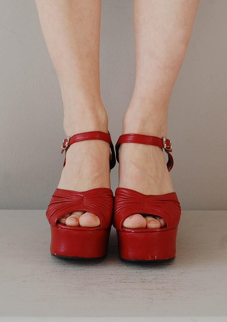 platform shoes / 1970s platforms heels / Red Alert platforms. $164.00, via Etsy.