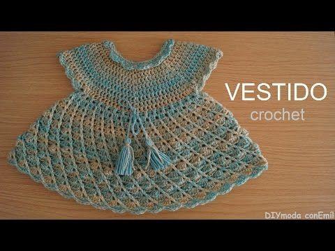 Vestido de niña tejido a crochet paso a paso - YouTube