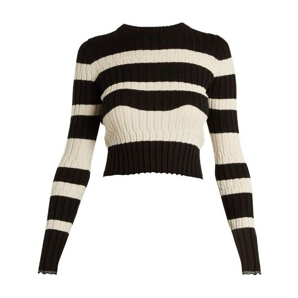 Proenza Schouler Striped cropped wool-blend sweater ($400) ❤ liked on Polyvore featuring tops, sweaters, black stripe, graphic tops, striped top, stripe sweater, graphic design sweaters and cropped tops