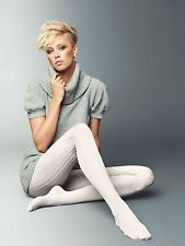 Veneziana Clementine 40 D Patterned Tights with Cable Knit Effect Pink or Black