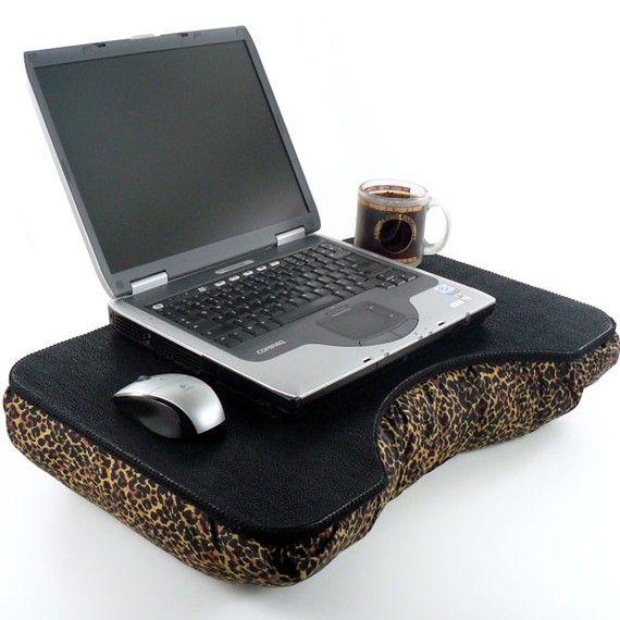 Large Faux Leather and Leopard Print Lap Desk by LapDeskLady