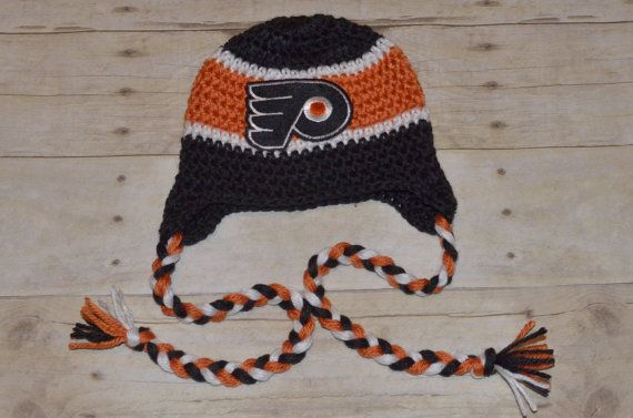 Crochet Philadelphia Flyers NHL Hat with Braids fits babies 3 month ...