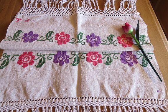 248. Hand embroidered vintage pure linen decor towel linen