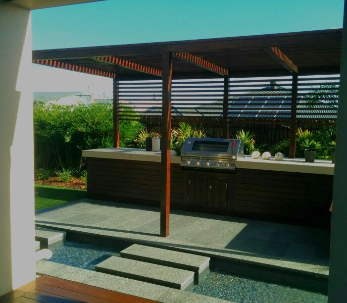 Outdoor BBQ area with separate covering