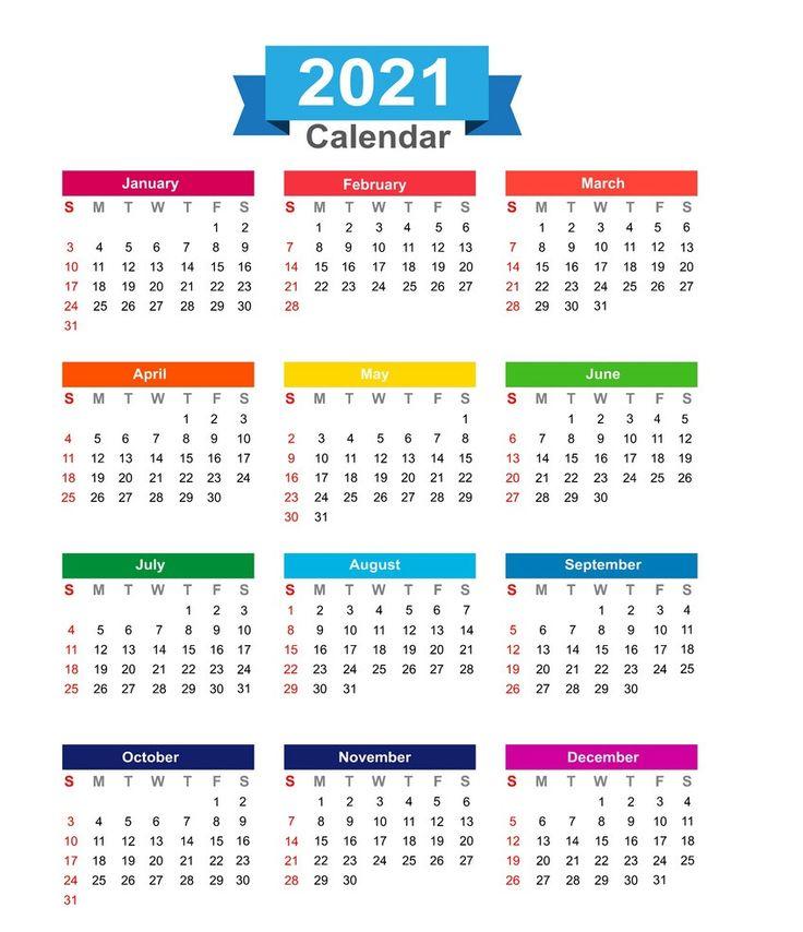 Beautiful 2021 Yearly Calendar in 2020 Calendar