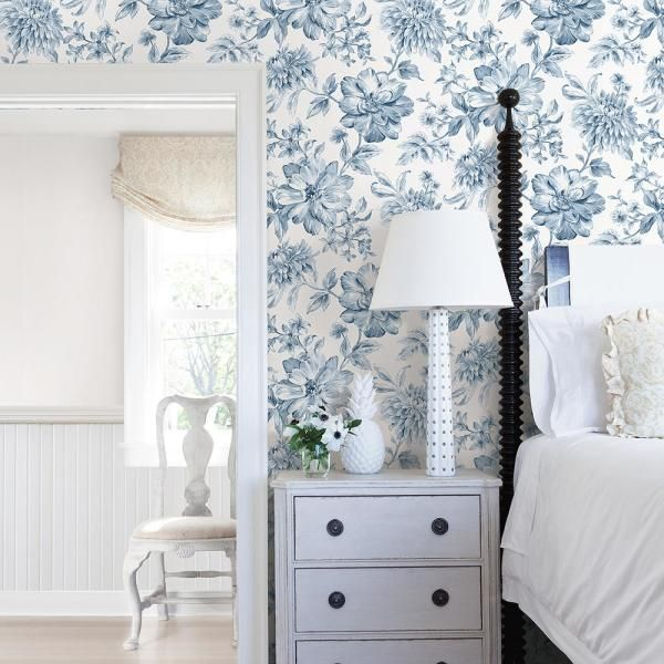 Brewster Gabriela Blue Floral Paper Strippable Roll Covers 56 4 Sq Ft Uw25895 The Home Depot Green Floral Wallpaper Blue And White Wallpaper Blue Floral Wallpaper Blue and white wallpaper bedroom