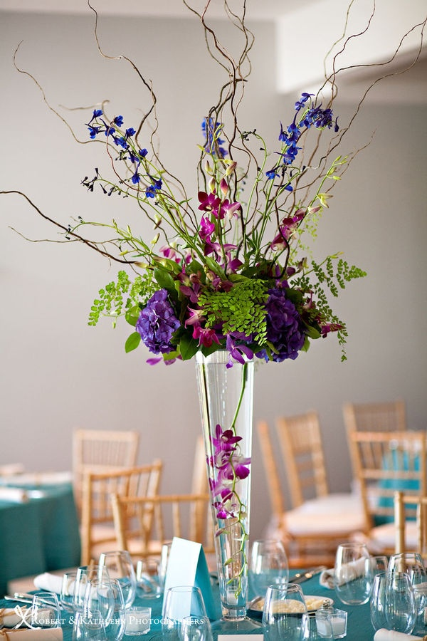 Tall purple centerpiece.  Maybe a bit less green or darker green