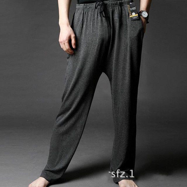 Mens Modal Sleep Bottom Loose Fit Pajamas Trousers Homewear Sleep And Lounge Long Underwear Elastic Waist Soft Big Size Hot Sale