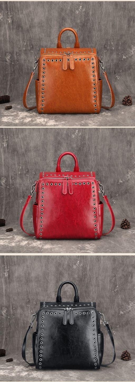 Vintage Leather Fashion Backpack, Shoulder Bag, Women Handbags FY1007
