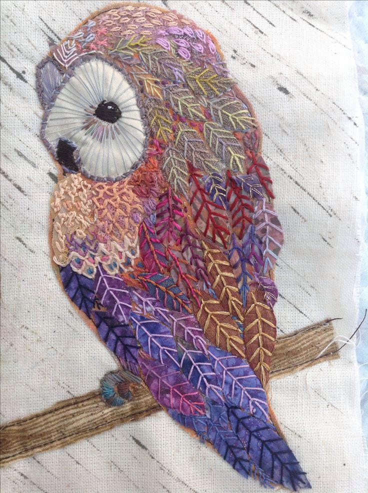 Hand embroidered owl bird embroidery quilting