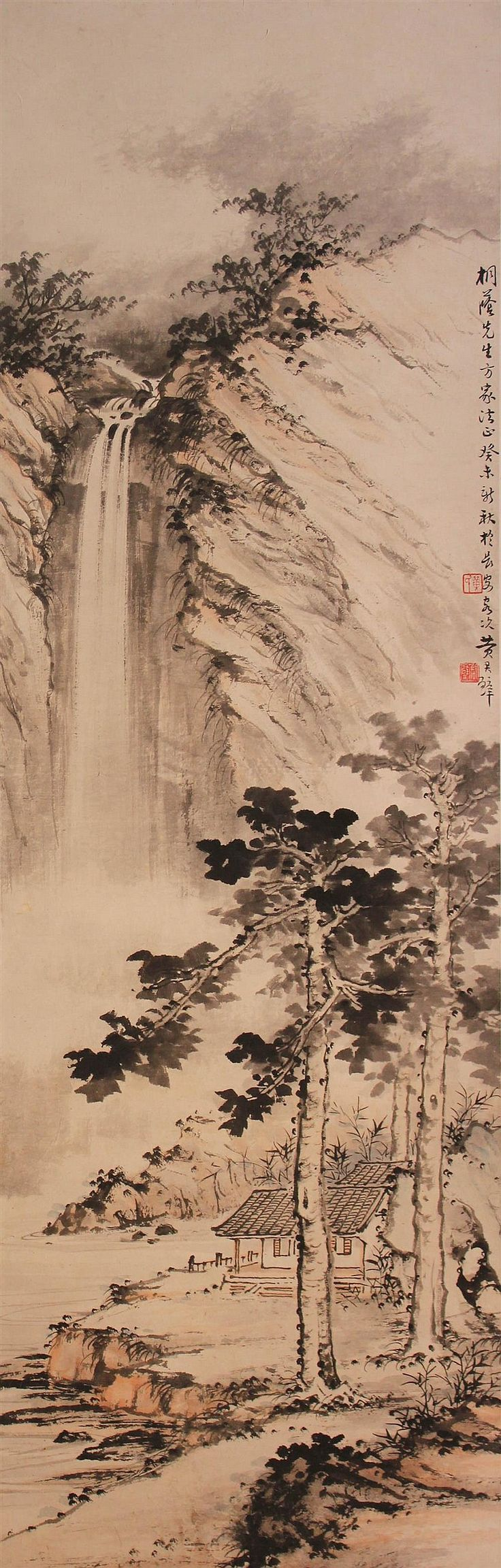 """HUANG JUNBI (CHINESE, 1898-1991) LANDSCAPE, 1943 Ink on paper mounted on hanging scroll: 32 3/4 x 10 1/2 in.Ink on paper mounted on hanging scroll: 32 3/4 x 10 1/2 in.  Upper right inscribed in Chinese """"Painted Autumn 1943 in Xian, dedicated to Mr. Tong Yin"""" with two seals 黃君璧/癸未新秋於長安客次/黃氏/君璧"""