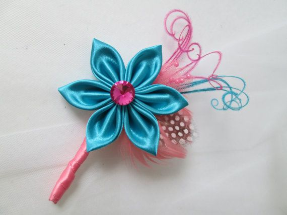 Turquoise & Coral Wedding Boutonniere for Groom, Men's Lapel Pin, Teal Blue / Coral Boutonniere, Wedding Party, Groomsmen's Gifts