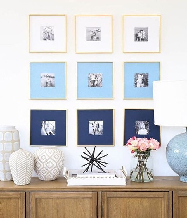 Our 💙 ombre display is a fun way to add color to your black and white prints! We teamed up with @chatbooks for project and it's just one of our ideas for displaying family photos on the blog today. {shop everything including #mcgeeandco accessories with the link in profile}