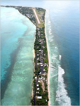 Rising sea levels could submerge Tuvalu, an island nation, and its capital, Funafuti.