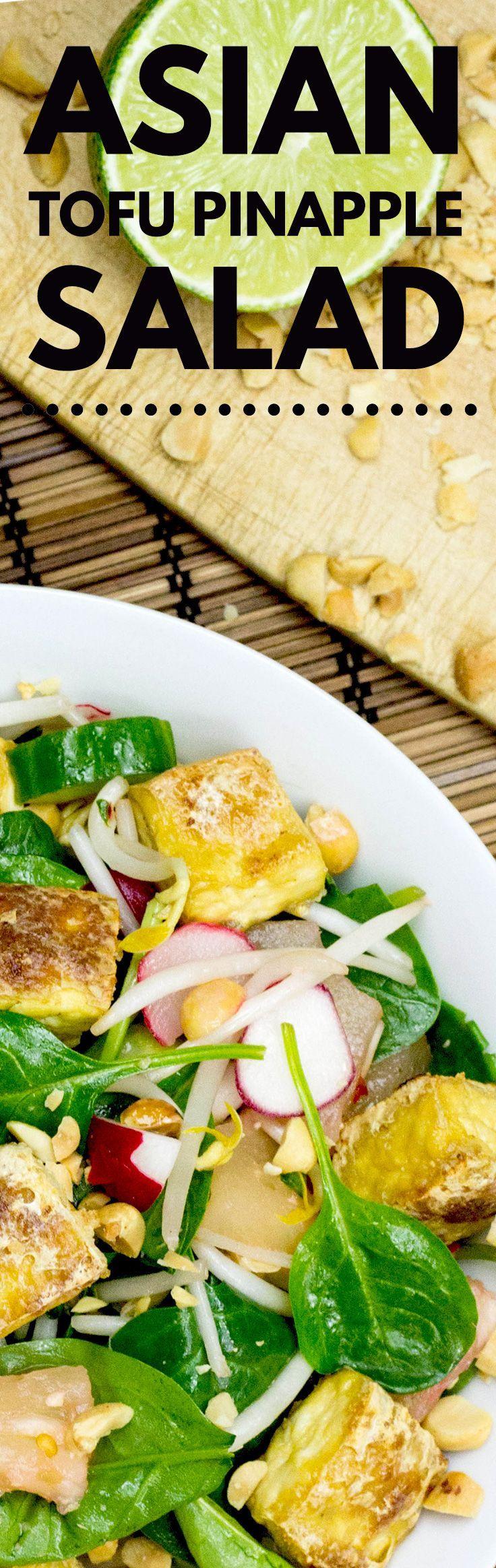 Crispy Tofu Salad, High in Protein, Low-carb and Vegan | http://hurrythefoodup.com