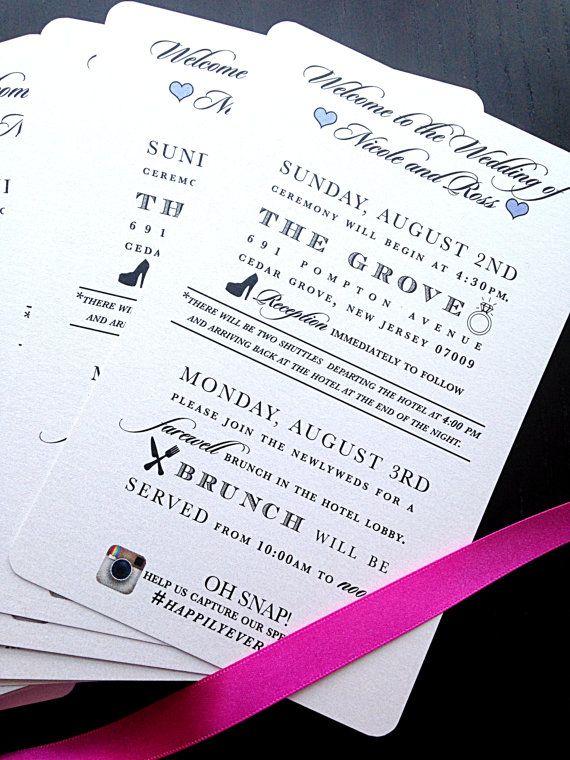 Wedding Itinerary Destination Agenda By PoeticTwistDesign