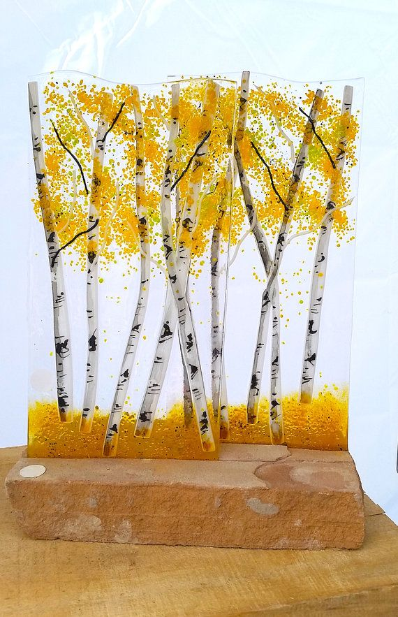 Aspen Fused Glass Dimensional Sculpture with by MountinDesigns