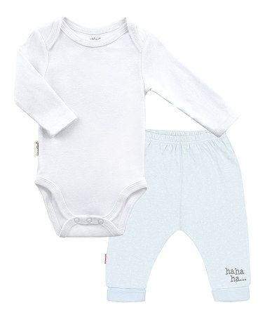 Another great find on #zulily! White Long-Sleeve Bodysuit & Blue Pants by Kushies #zulilyfinds