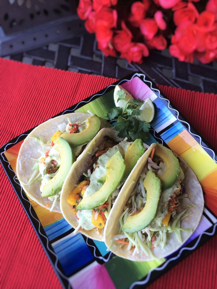 Everyone loves fish tacos especially when topped with fresh Mango Salsa~Baja Fish Tacos.  Recipe at www.insidekarenskitchen.com