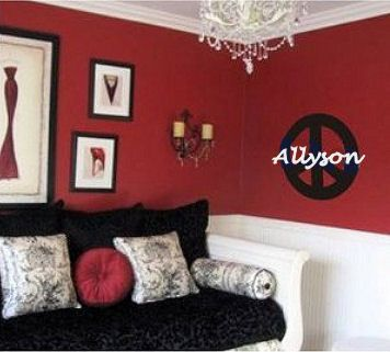 Bedrooms my name and french on pinterest - Red and black bedroom decor ...