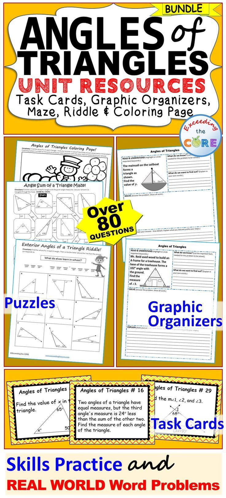 ANGLES OF TRIANGLES BUNDLE - This BUNDLE includes 40 task cards, 10 problem solving graphic organizers, 1 maze, 1 riddle, 1 coloring activity (over 80 skills practice and word problems). The resources in this bundle are perfect for warm-ups, cooperative learning, spiral review, math centers, assessment prep and homework. Topics included: Angle Sum of a Triangle, Interior Angles of a Triangle, Exterior Angle of a Triangle, Classify Triangle by its Angles 8th grade math common core 8.G.5