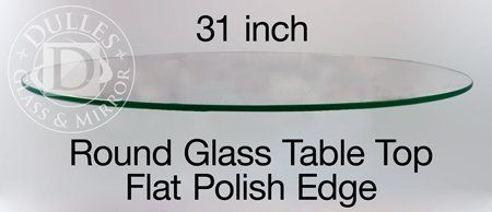 """#American This 31'' #Round Glass Table Top features 1/4"""" thick tempered glass with a flat polished edge."""