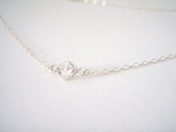 Dainty Sterling Silver Necklace Cz Single Diamond Clear
