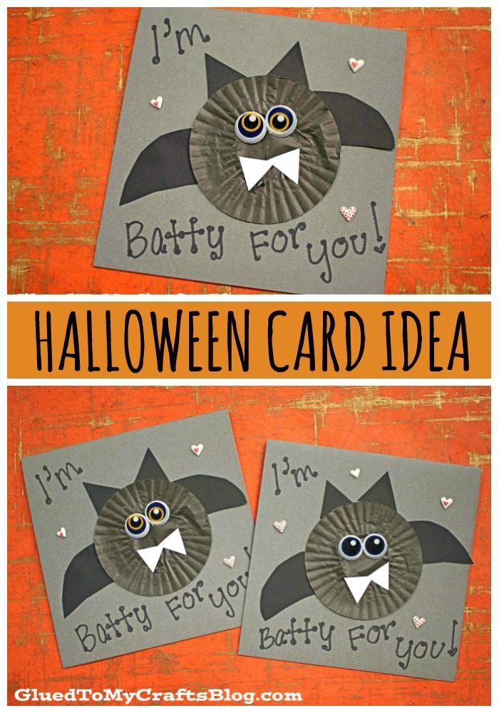 Halloween 2020 Cards For Kids Cupcake Liner Bat Cards For Kids To Make This Halloween in 2020