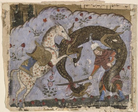 No one but Rostam ever rides Rakhsh, and Rakhsh recognizes no one but Rostam as his master. Also, he is the only horse ever that Rostam could ride, since his great strength and weight would kill other horses. Image: Rakhsh y Rostam killing the dragon. Mid 16th Century, Shiraz. Now, in Harvard Museum.